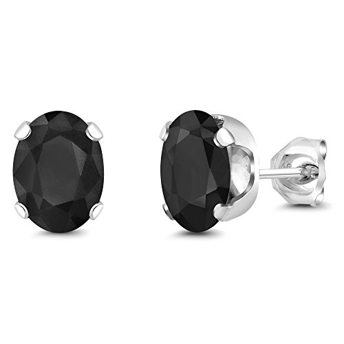 Black Sapphire 925 Sterling Silver 3.32 Ct Oval Gemstone 8X6MM 4-Prong Stud Earrings ()