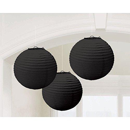 Round Paper Lanterns   Jet Black   Pack of 3  Party Decor