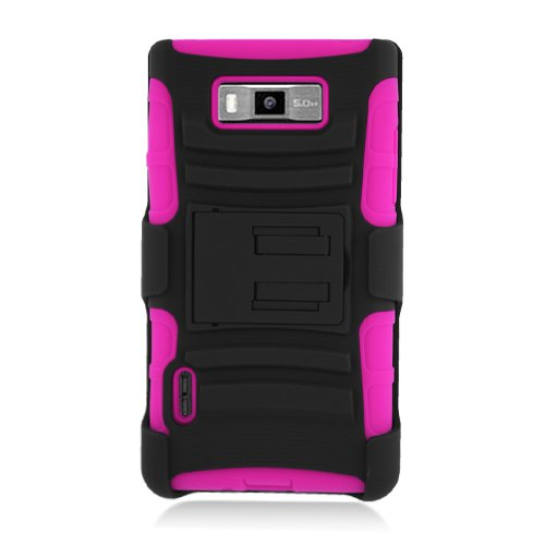 ManiaGear-BlackHot-Pink-Combat-Heavy-Duty-Case-for-LG-Optimus-Showtime-L86CL86G-ManiaGear-Screen-Protector