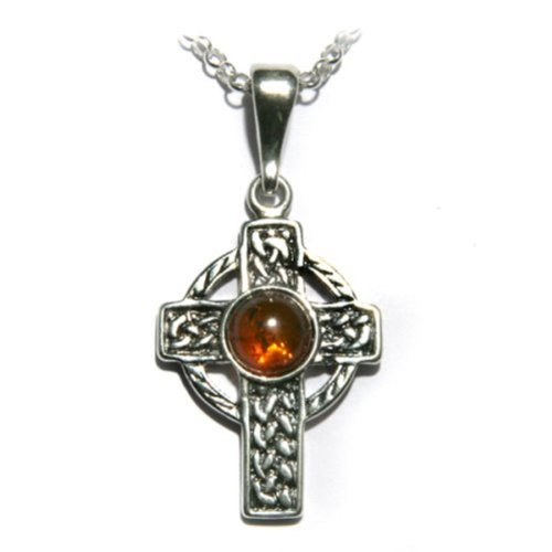 Honey Amber Sterling Silver Celtic Cross Pendant on Italian Sterling Silver Rolo Chain 18""