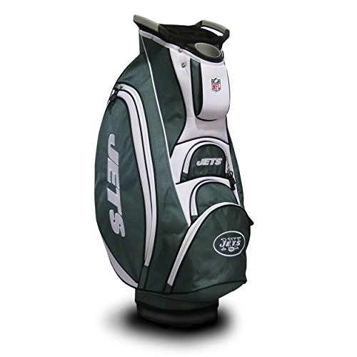 Team Golf NFL New York Jets Victory Golf Cart Bag, 10-way Top with Integrated Dual Handle & External Putter Well, Cooler Pocket, Padded Strap, Umbrella Holder & Removable Rain Hood ()