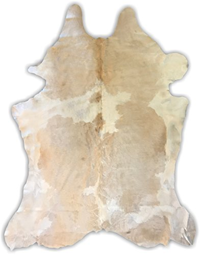 - 7ft x 6ft White Butter Color Cowhide Rug | Cowhide Area Rugs by Crown Home Innovations | 100% Natural Leather Rugs (XL)