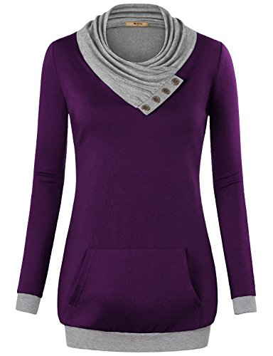 Miusey Pullover Sweatshirts for Women,Cowl Neck Long Sleeve with Kangaroos Pocket Top X-Large Purple