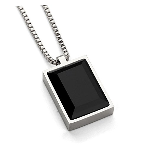 Crystal Square Pendant Necklace (MCSAYS Luxury Black Square Gem Small Pendant Necklace Crystal Rhinestone Fashion Choker Rose Gold Jewelry (Silver))