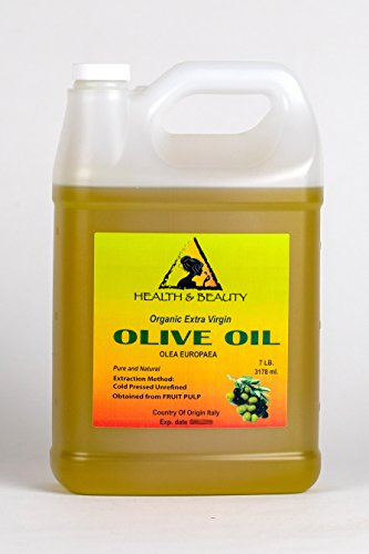 Olive Oil Extra Virgin Organic Unrefined Raw Cold Pressed Premium Fresh Pure 128 oz, 7 LB, 1 gal