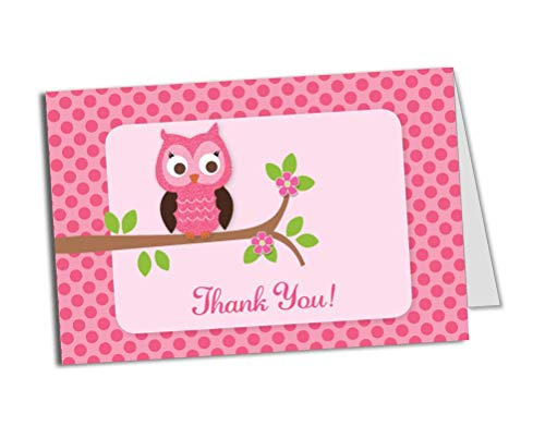 50 (Thick Card Stock) Pink Owl Foldover Thank You Cards - Baby Shower - Birthday Party - Any Occasion - A6 Size ()