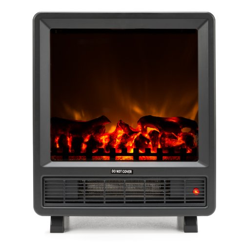 Mini Free Standing Electric Fireplace Stove - 18 Inch Black Portable Electric Fireplace with Realistic Fire and Vintage Logs. Adjustable 1350W 400 Square Feet Space Heater Fan (Fake Electric Fireplace Insert)