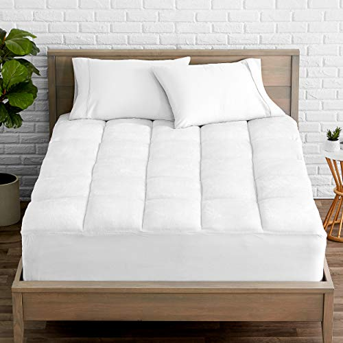 (Bare Home Pillow-Top Premium Reversible Mattress Pad - 1.5 Inch Cooling Down Alternative Polygel Filled Microplush Super-Soft Hypoallergenic Topper (Twin XL/Twin Extra Long))