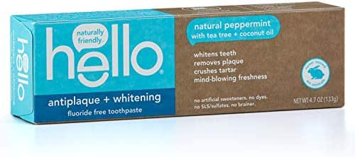 Hello Oral Care Fluoride Free Antiplaque and Whitening Toothpaste, Vegan & SLS Free, Natural Peppermint with Tea Tree Oil & Coconut Oil, 4.7 Ounce