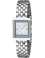 Gucci G Frame Timeless Stainless Steel B26 Square Shape Dress Womens Watch(Model:YA128405)