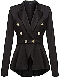 Womens Double Breasted Victorian Steampunk Blazer Coat Jacket with Lace Hem
