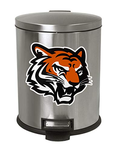 (Stainless Steel Step Trash Can Waste Basket featuring your Favorite Football team logo! (Bengals Face))