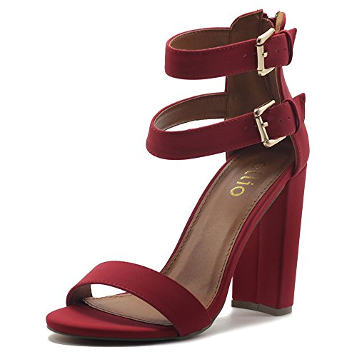 Ollio Women's Shoes Double Ankle Strap Zip up Chunky High Heel Sandals MG00H45 (8 B(M) US, Red) ()