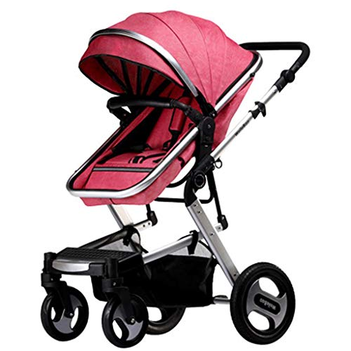 Pushchairs for Babies,Pushchairs and Strollers, Adjustable High View Pram,Travel System with Baby Basket and Anti-Shock Springs,Infant Carriage Pushchair (Color : Red-A)
