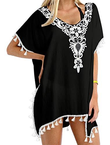 (Yincro Women's Swimsuit Bathing Suit Cover Ups for Swimwear (EMB Black, A))