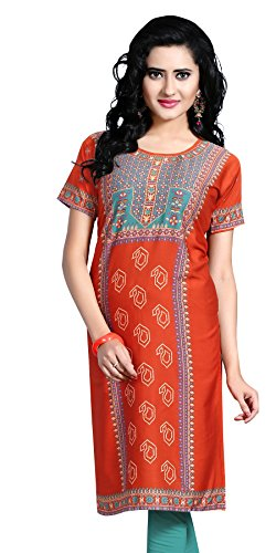 Indian Tunic Top Womens Kurti Printed Blouse India Clothing – Small, L 126
