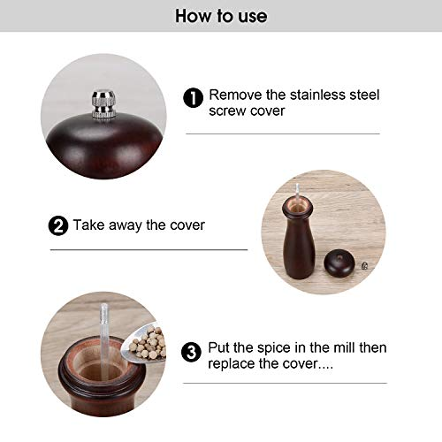 Wood Pepper Mills Shaker with Ceramic 8 2 Haomacro Salt and Pepper Grinder Set