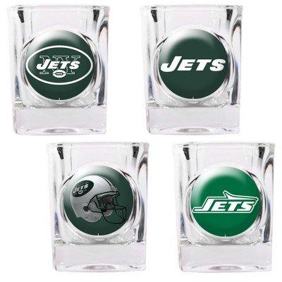 New York Jets - 4 Piece Square Shot Glass Set w/Individual Logos
