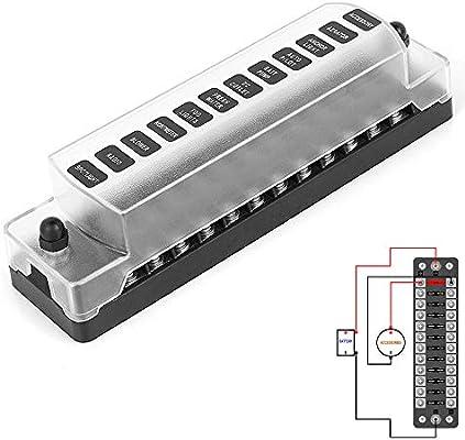 Jtron caja fusibles 12v 12 Vías para fusible ATO / ATC 1-20A DC 32V M5 conector tipo tornillo portafusibles con fusible(12 vías con polo negativo): Amazon.es: Coche y moto