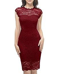 Aupuls Women's Elegant Below-Knee Floral Lace Slim Dress Formal Party Bridesmaid Dress