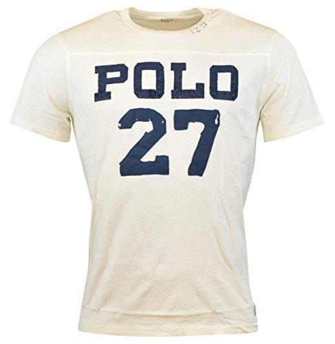 Polo Ralph Lauren Mens Cotton Distressed T-Shirt Beige L (Mens Graphic Applique Polos)