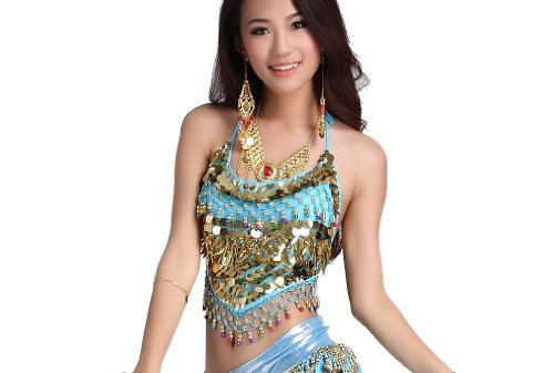 ZLTdream Belly Dance Top With Chest Pad bells &coins Light Blue, One (Light Blue Belly Dance Costume)