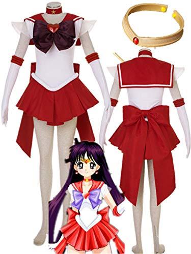 Sailor Moon Sailor Mars Halloween Cosplay Costume Hino Rei Halloween (Female 3XL) Red -