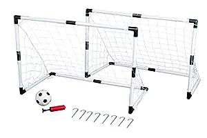 Idena 7370007 - Mini Fußballtor Set, 2 Tore, 1 Ball und Pumpe, circa 90 x 60...