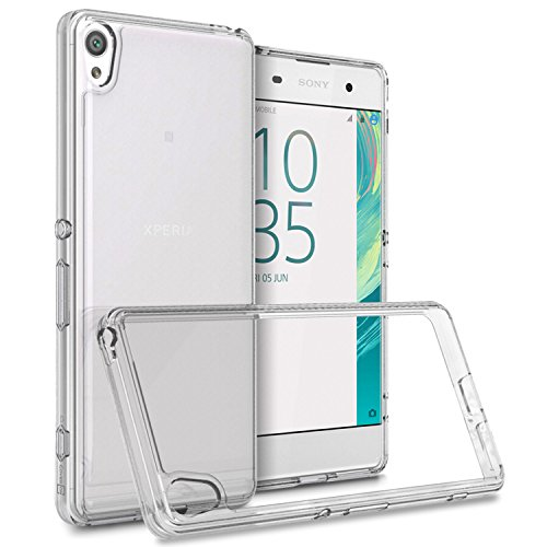 Sony Xperia XA Case, CoverON [ClearGuard Series] Hard Clear Back Cover with Flexible TPU Bumpers Slim Fit Phone Cover Case for Sony Xperia XA - Clear
