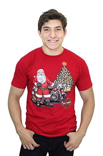 Harley-Davidson Mens Be Good Biker Santa Red Short Sleeve T-Shirt ()