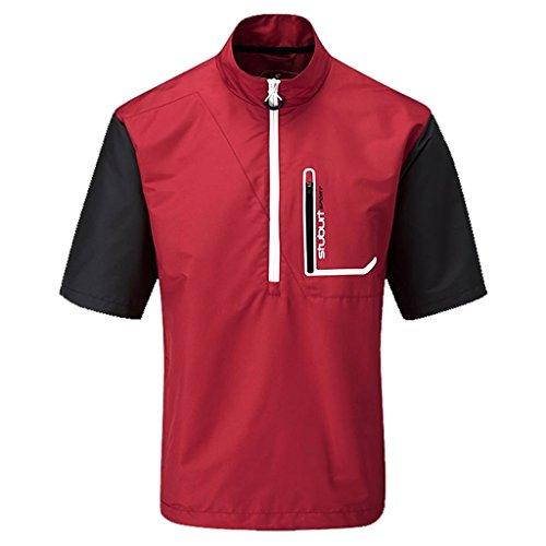 Stuburt 2015 Cyclone Chest Pocket Short Sleeve Half Zip Water Repellent Mens Golf Windshirt Poppy Large (Sleeve Short Zip Windshirt)