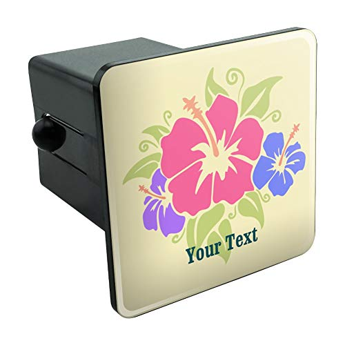 Graphics and More Personalized Custom 1 Line Hibiscus Flowers Tropical Tow Trailer Hitch Cover Plug Insert 2