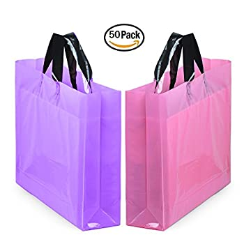"""YookeeHome 14"""" x 18"""" Large Merchandise Bags with Handles with Bottom Gusset, Pink and Purple Thick Frosted Plastic Gift Bags Retail Clothing Shopping Bags, 50Pcs"""