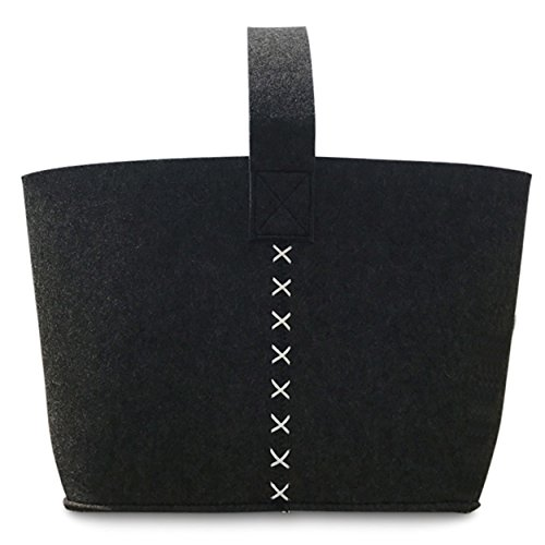 WHW Whole House Worlds Felt Boat Bag, Tote, in Charcoal, Super Soft, Thick, and Durable Polyester, Faux Leather White Stitched Details, 19 3/4 Inches Tall