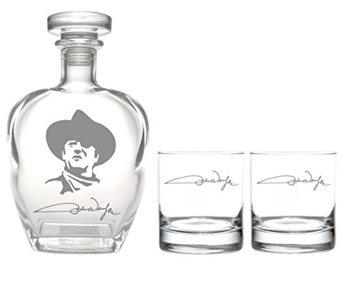 Rolf Glass John Wayne Signature Whiskey Decanter with On The Rocks (Set of 2), Clear (Best Whiskey On The Rocks)