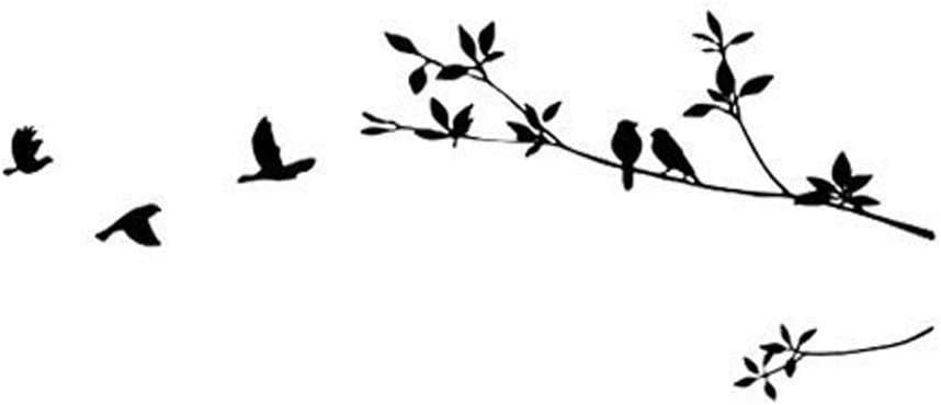 Romote Arbre et Oiseaux Stickers muraux//Stickers Noir
