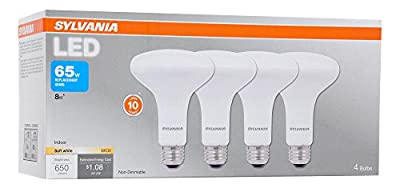 SYLVANIA LED BR30 Reflector Lamp, 8W (65W equivalent), Medium Base (E26/24), Soft White (2700 K), 650 Lumen, 4-pack