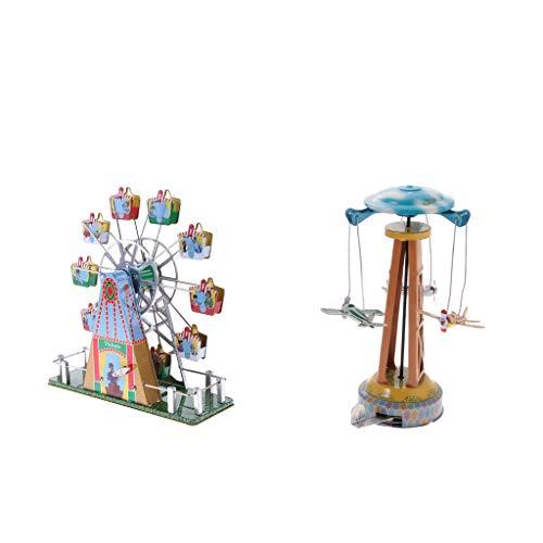 Flameer 2Pcs Vintage Wind Up Fairground Ferris Wheel & Plane Carousel Tin Toy Crafts
