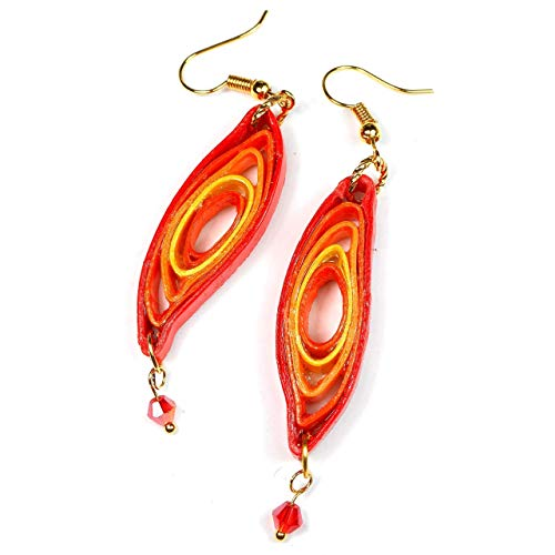 Handcrafted Paper Quilling Leaf Lightweight Earrings, Shades of Red