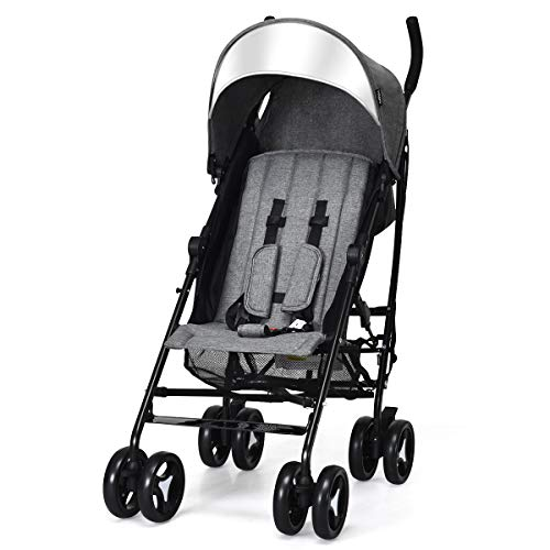 INFANS Lightweight Baby Umbrella Stroller, Foldable Infant Travel Stroller with Carry Belt, 4 Position Recline, Adjustable Backrest, UV Protection Canopy, Cup Holder, Storage Basket (Dark Grey)