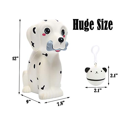 Sinofun 12 Inch Giant Dalmatian Dog Squishy, Large Puppy Animal Scented Squishies Package, Cute Panda Slow Rising Keychain, Soft Stress Relief Toys, Fun Party Favor/Birthday Gifts for Boys/Girls/Kids by Sinofun (Image #2)