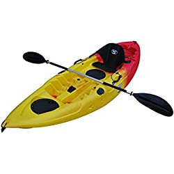 "BKH UH-FK184 9'2"" Sit on Top Single Fishing Kayak Seat and Paddle included Red and Yellow"
