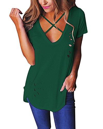 ZANZEA Camisas Mujer de Vestir Blusa Casual Tops Manga Cortos Verde Invisible
