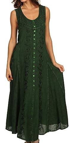 Sakkas 15221 - Maya Floral Embroidered Sleeveless Button Up Rayon Dress - Green - 3X/4X (Sakkas 3x)