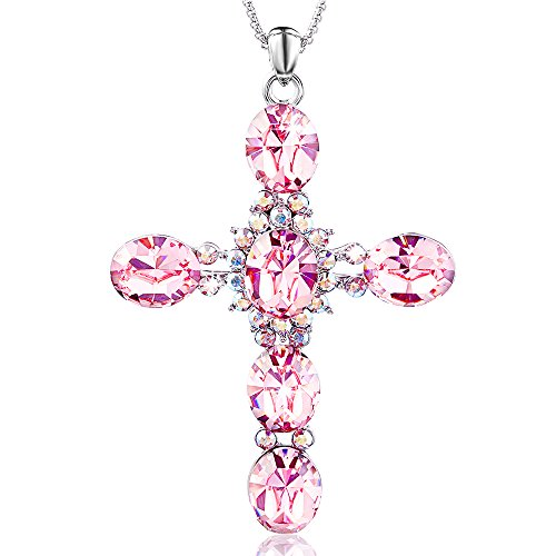 Special Outlook Crystal Cross Necklace Women Necklace with SWAROVSKI Crystal, Fashion Gemstone Pendant Ideal Gift for Mother's Day Valentine's Day Birthday Pink Swarovski Stones