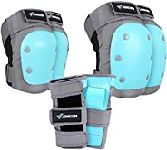Joncom Knee Pads Elbow Pads Wrist Guards for Kids Youth Adult 3 in 1 Protective Gear Set for Skateboarding, Ro