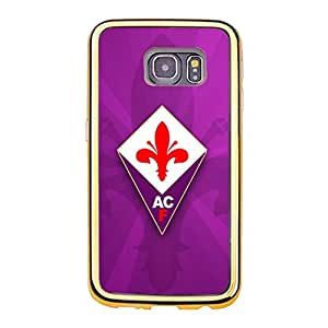 Associazione Calcio Fiorentina Logo Phone Case Fabulous Graceful ACF Fiorentina Printed Cover Shell Snap on Samsung Galaxy S6 Edge (Gold Plastic Frame + TPU£©