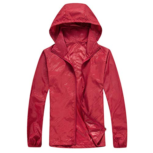 (Tantisy ♣↭♣ Women Men's Waterproof Outdoor Active Hooded Rain Trench Jacket Sun Protection Clothing Overalls (with Pockets) Red)