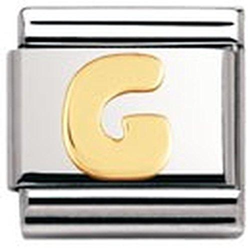 Nomination - 030101 - Maillon pour bracelet composable Mixte - Lettre - Initiale - Acier inoxydable et Or jaune 18 cts