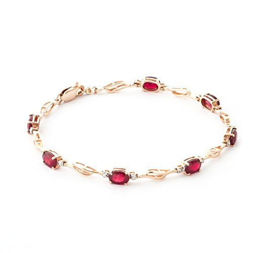 QP joailliers naturel Diamond & Ruby Bracelet en or rose 9 carats, 4,20 carats Coupe ovale - 1512r